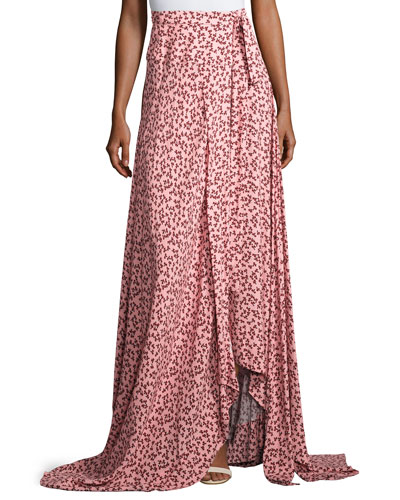 Corinna Floral-Print Tie-Side Maxi Skirt, Pink