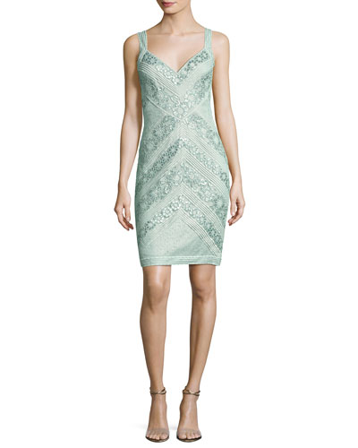 Sleeveless Lace Stripe Cocktail Dress, Green