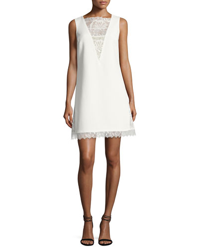 Sleeveless Textured Crepe Cocktail Dress, White