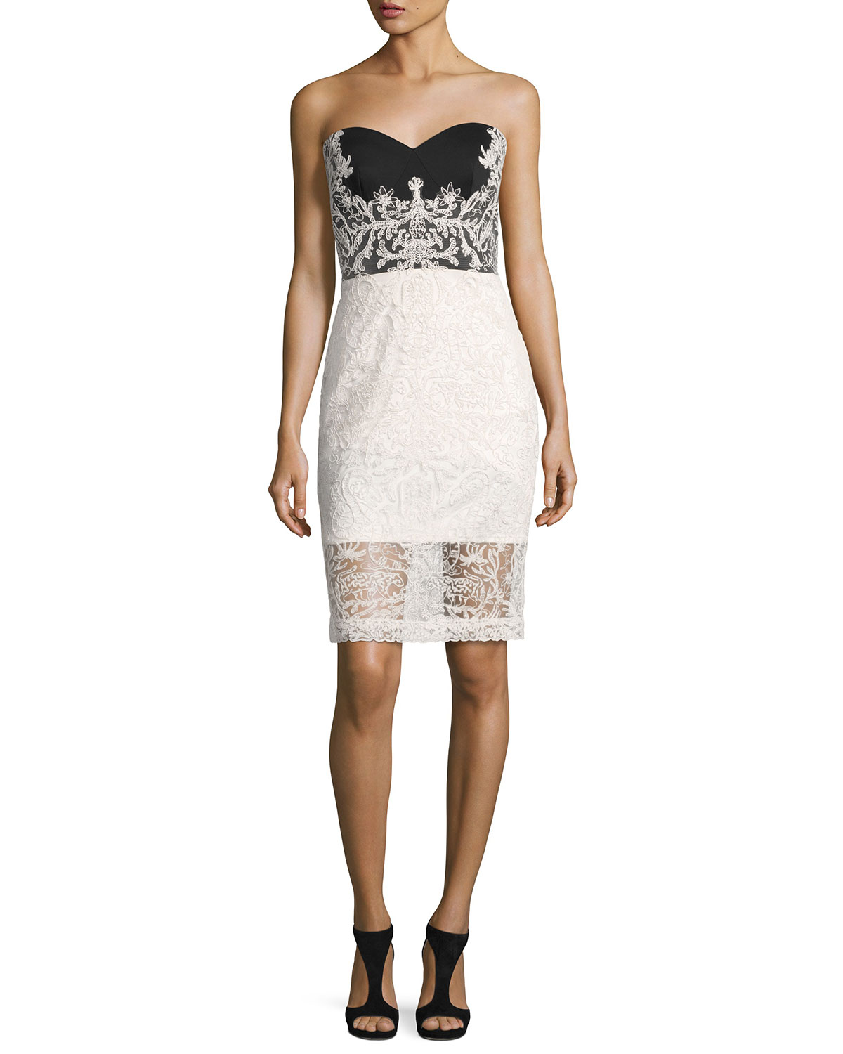 Strapless Two-Tone Lace Cocktail Dress, Black/White