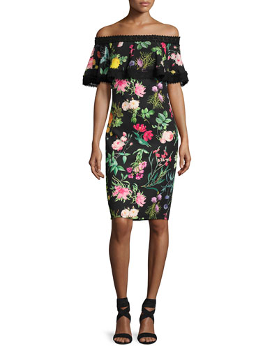 Off-the-Shoulder Floral Cocktail Dress, Multipattern