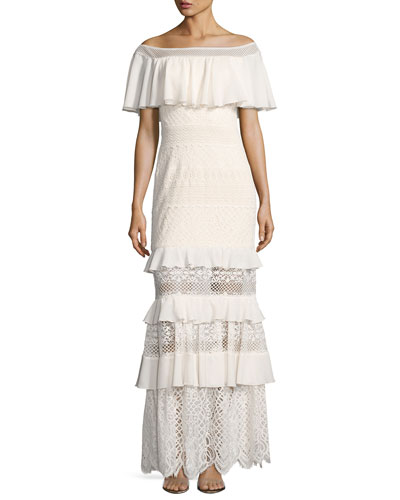 Off-the-Shoulder Tiered Lace Column Gown, White