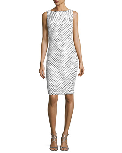 Sleeveless Mesh Lace Cocktail Dress, White/Silver