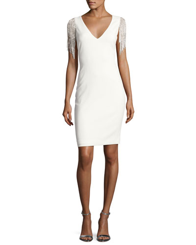 Stretch Crepe Cocktail Dress w/ Beaded Fringe, Ivory