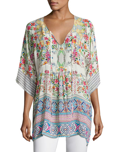 Floral-Print Bias Tie-Neck Top, White Multi