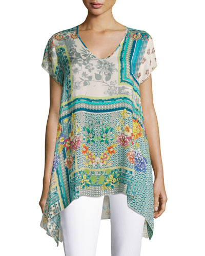 Trends Short-Sleeve Printed Top, Teal, Plus Size