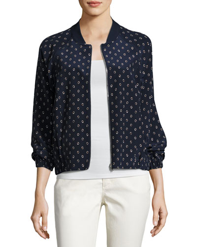 Dancing Dot Reversible Silk Bomber Jacket, Multi, Plus Size