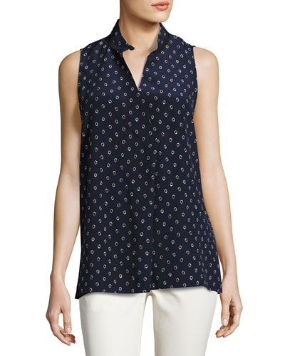 Eloise Sleeveless Dancing Dot Silk Blouse, Multi, Plus Size