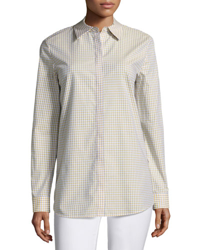 Brody Cabana Check Button-Front Blouse, Plus Size