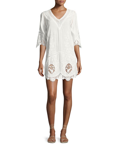 Daria Crocheted Tunic Coverup Dress, White