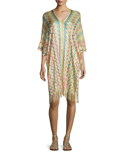 Madagascar Coverup Tunic Dress, Multicolor