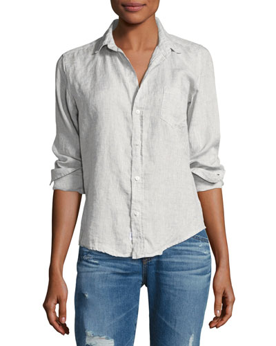 Barry Long-Sleeve Linen Shirt, Gray