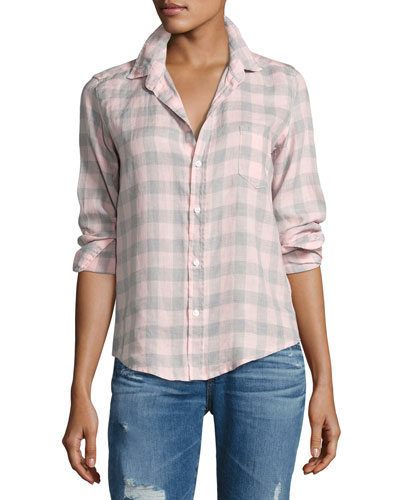Barry Large Check Shirt, Pink/Gray