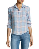 Barry Plaid Long-Sleeve Linen Shirt