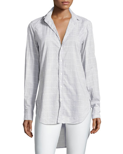 Grayson Grid-Print Italian Chambray Shirt, Gray