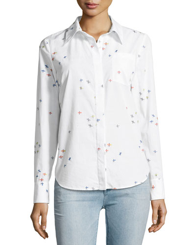 Surfer-Print Coupé Button-Down Shirt, White