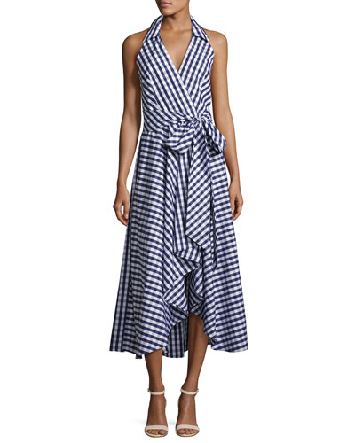 Brooklyn Sleeveless Gingham Shirting Wrap Dress, Navy