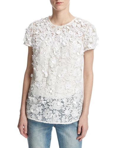 Short-Sleeve Embellished Floral Lace Top, White