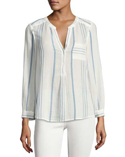 Almae Striped Gauze Top, White