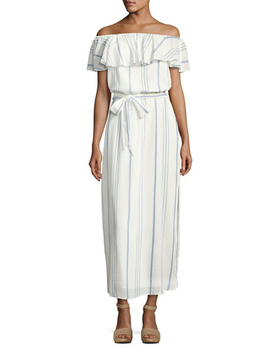 Almante Striped Cotton Maxi Dress, White
