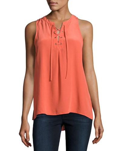 Deasia Lace-Up Tank Top, Orange