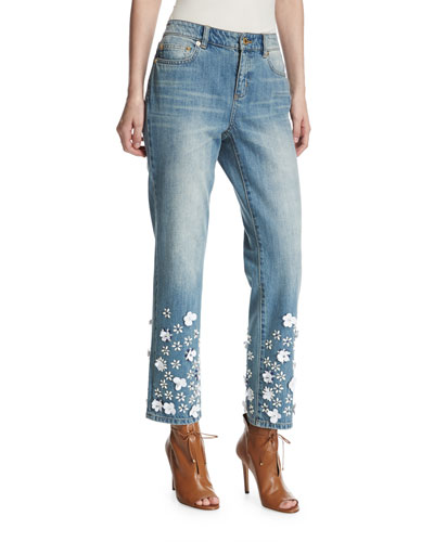 Floral Appliqué Cropped Boyfriend Jeans, Light Blue