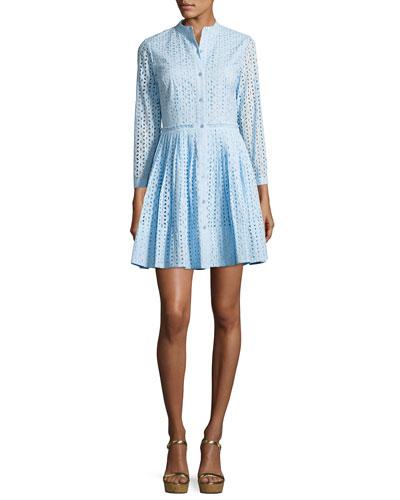 Daisy 3/4-Sleeve Cotton Eyelet Shirtdress, Cloud