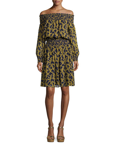Arbor Off-the-Shoulder Smocked Dress, Yellow