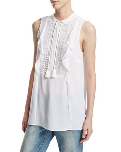 Sleeveless Tie-Neck Lace-Bib Blouse, White