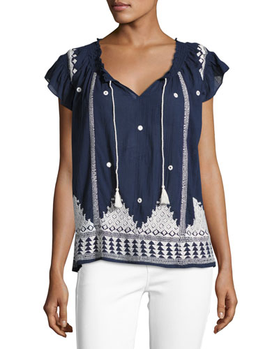 Mirena Short-Sleeve Embroidered Top, Blue