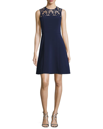 Sleeveless Knit Dress w/ Floral Laser-Cut Yoke, Navy