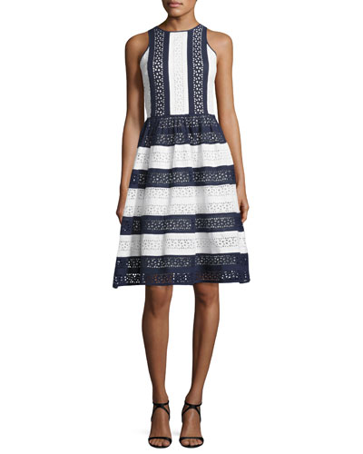 Sleeveless Striped Cotton Eyelet Dress, Navy