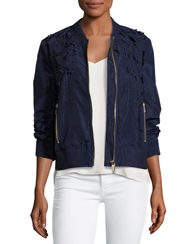 Lightweight Embellished Bomber Jacket, Navy