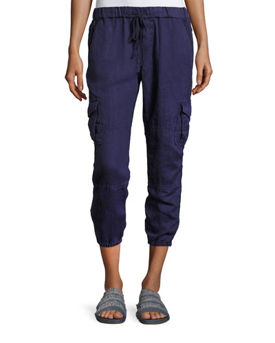 Argine Linen Jogger Pants, Blue
