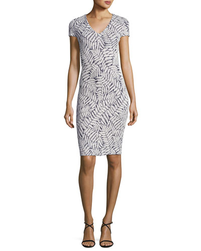 Short-Sleeve Fern-Print Textured Bodycon Dress, Navy