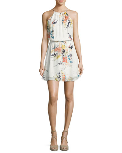 Makana Silk Floral Mini Dress, Porcelain