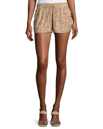 Joselle Sequin Drawstring Shorts, Nude