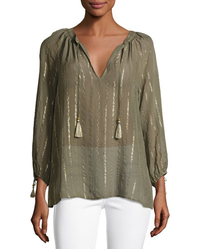 Julianie Split-Neck Silk Top, Fatigue