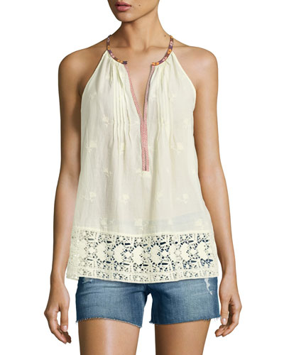 Eniko O Sleeveless Embroidered Top
