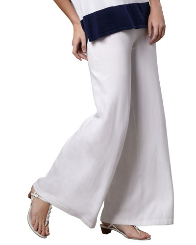 Wide-Leg Palazzo Knit Pants, White, Plus Size
