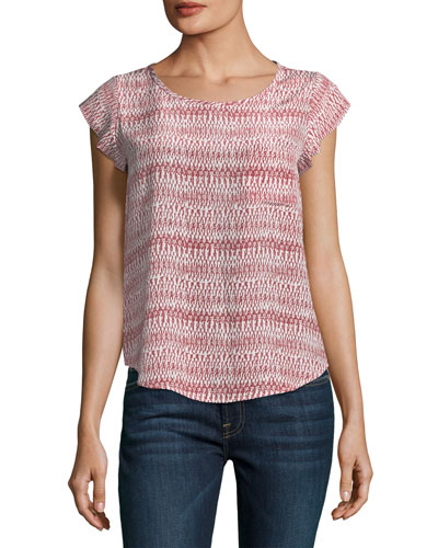 Rancher Round-Neck Cap-Sleeve Silk Top