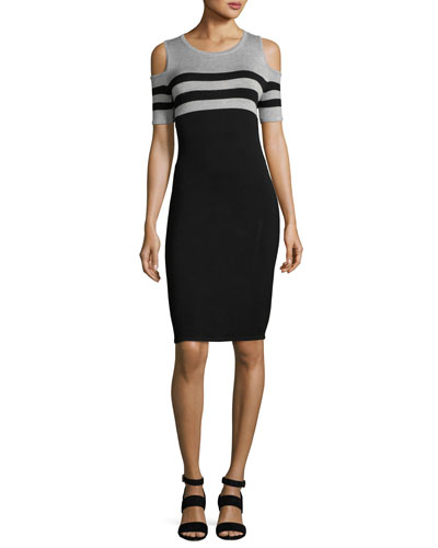 Cold-Shoulder Striped Knit Sheath Dress, Plus Size