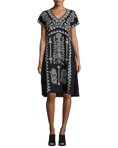Jolina Easy-Fit Embroidered Linen Dress, Black, Petite