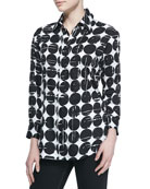 Finley Plus Size Poplin Polka-Dot Print Dress Shirt