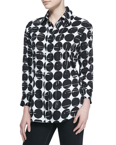 Poplin Polka-Dot Print Dress Shirt, Plus Size
