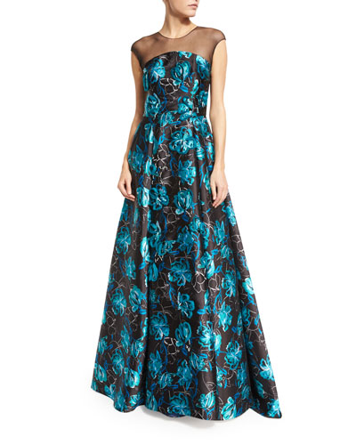 Barbara Cap-Sleeve Embroidered Jacquard Gown, Blue Topaz