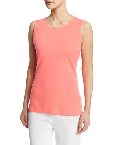 Sleeveless Long Tank, Coral