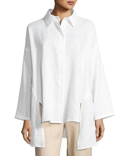 Linen Oversized Shirt, Petite