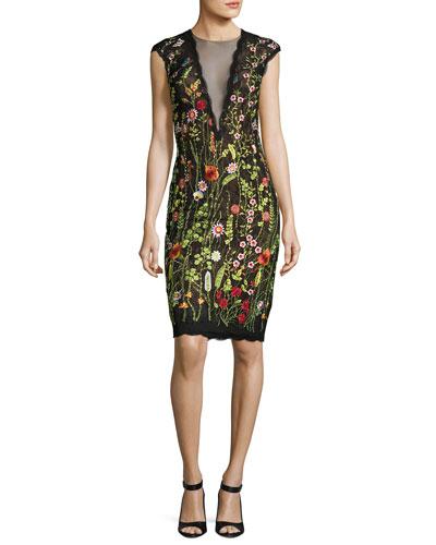 Cap-Sleeve Floral Open-Back Cocktail Dress, Multicolor