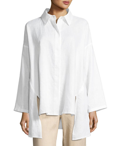 Linen Oversized Shirt, Plus Size